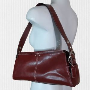 Alfred Sung | dark red 3 compartment shoulder bag